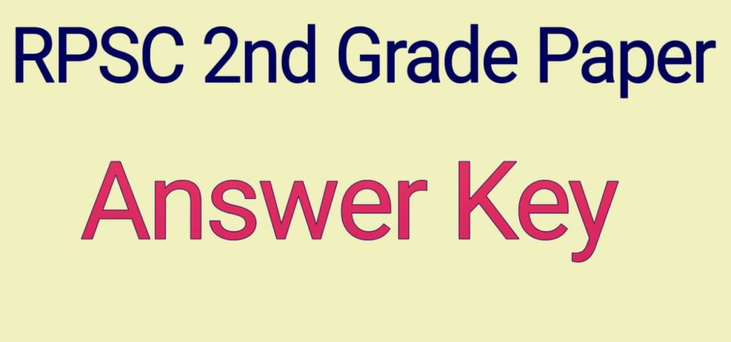RPSC 2nd Grade Teacher 2018-19 paper with Answer key download