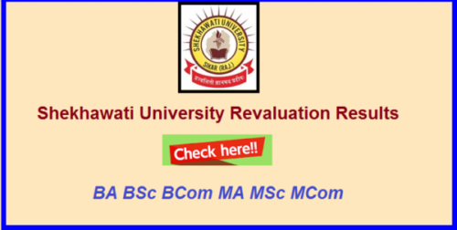 Shekhawati University UG PG Revaluation Result 2019