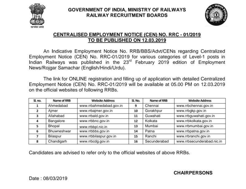 Official Notice for Railway RRB Group D Recruitment