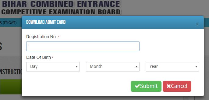 Bihar ITICAT Entrance exam Admit card 2019 BCECEB ITICAT