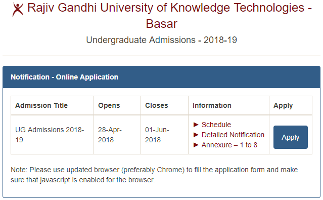 IIIT Basara Admissions 2019 -Online Apply Form
