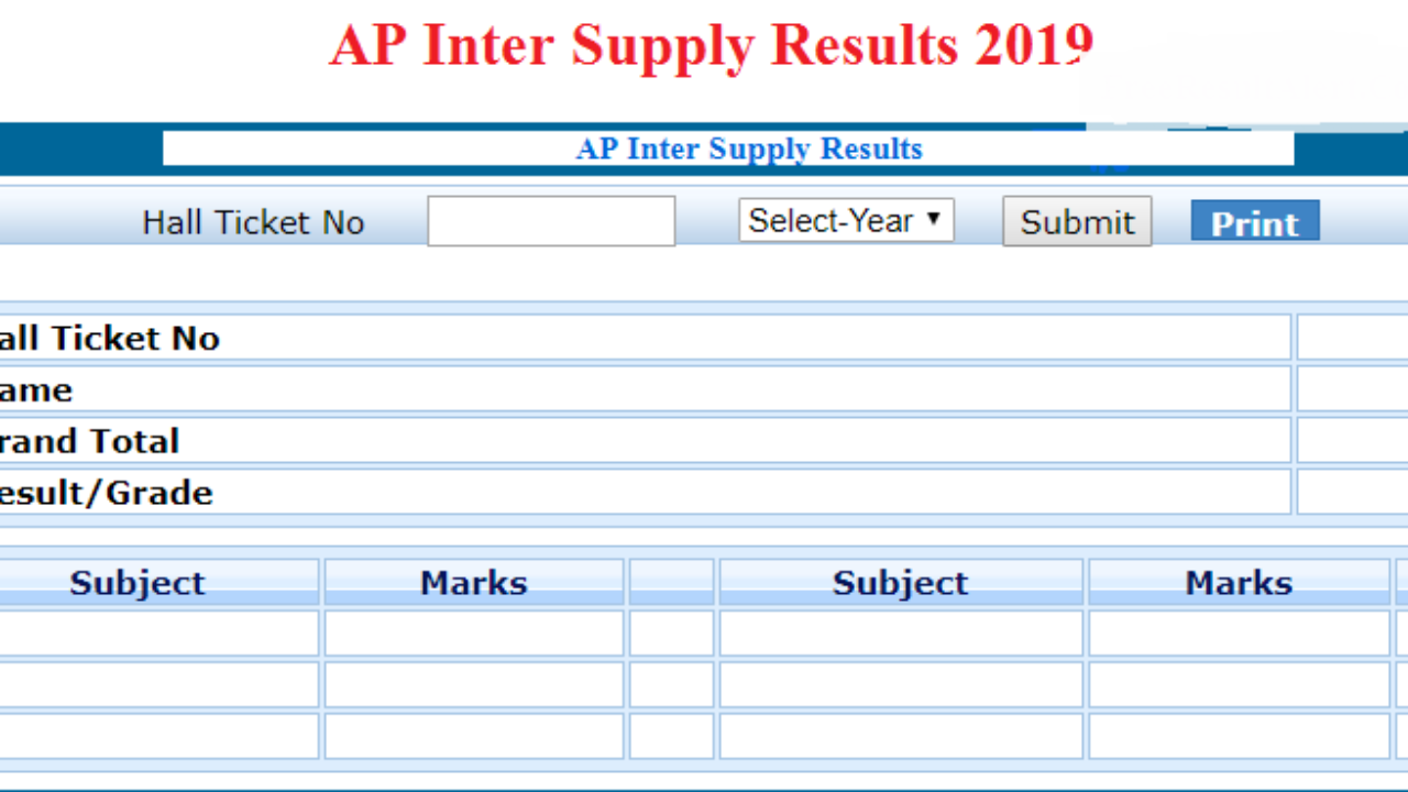 AP Inter Supply Results 2019 Date -1st 2nd Year Betterment