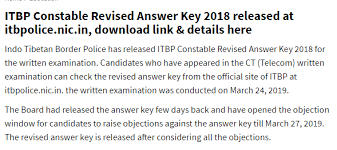ITBP Constable Telecom Result Important dates 2019