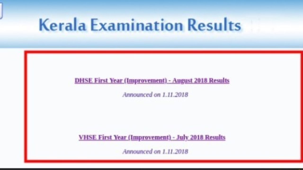 Kerala 1st Year Results 2019 School Wise -Code List DHSE Plus One Result