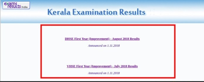 Kerala plus one result 2019