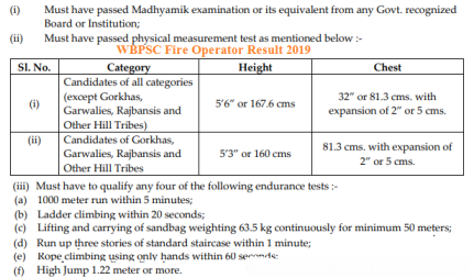 West Bengal PSC Fire Operator Results 2019 Dates ,