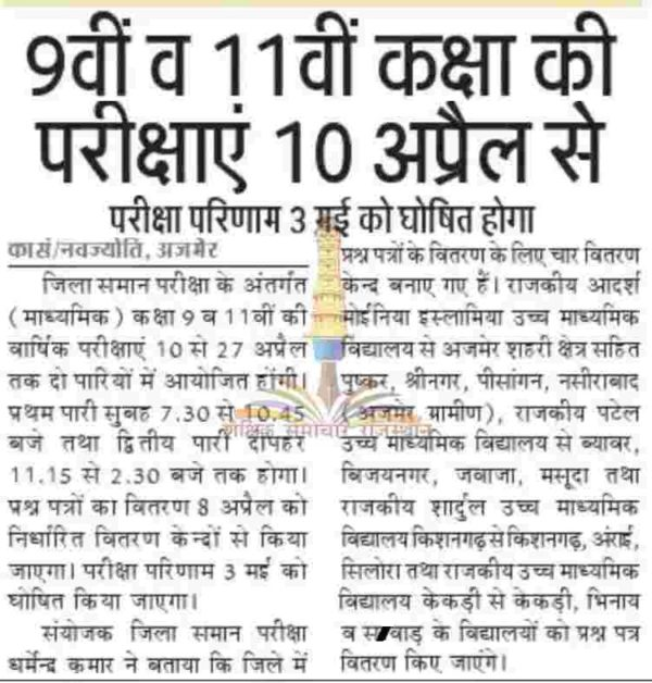 RBSE 9th Results 2019 -घोषित Rajasthan Board IX Class Result Name Wise