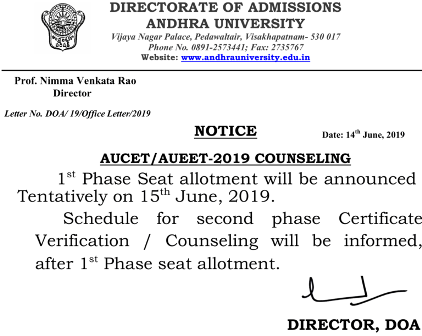 Andhra University First Round Seat Allotment 2019