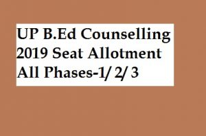 Download UP B.Ed 1stRound seat allotment results 2019