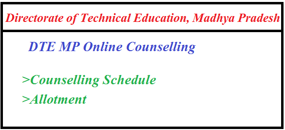 DTE MP BE Online Counselling Result 2019