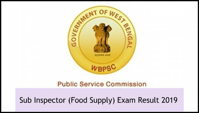 WBPSC Food Supply SI Result 2019 Expected Cut Off