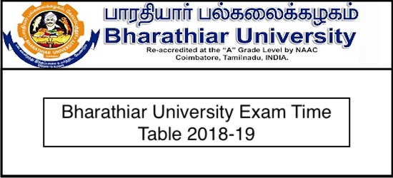 Bharathiar University UG Timetable 2019