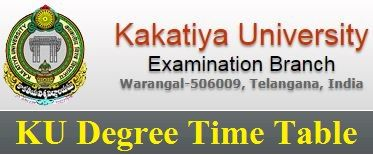 Kakatiya University Exam Time Table 2019