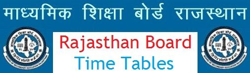 Rajasthan Board 5th Time Table 2020