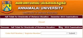 Annamalai University DDE Admit Card