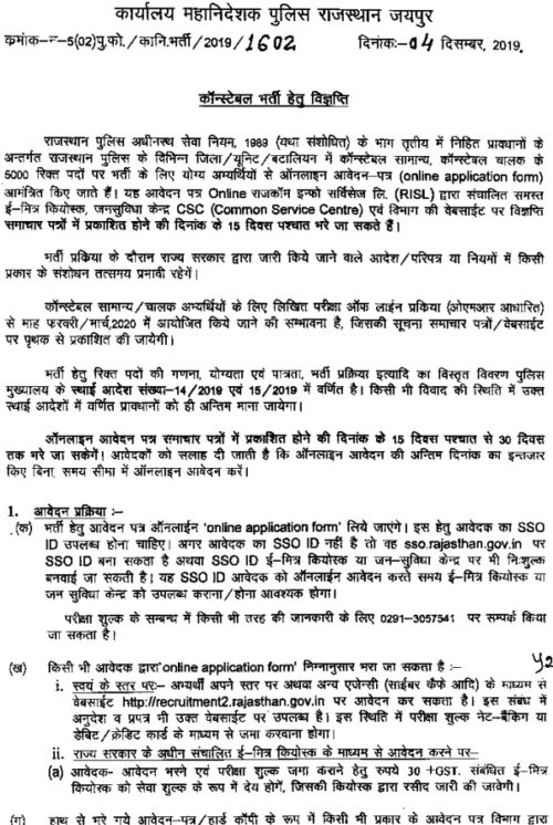 Rajasthan Police Constable Bharti 2019-20
