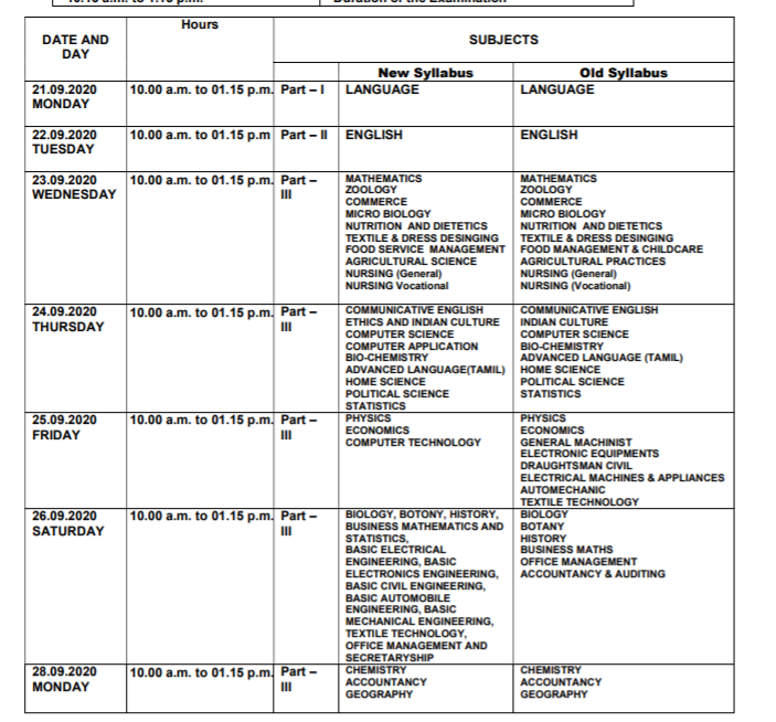 TN Board Supply Time Table 2020 Download Links
