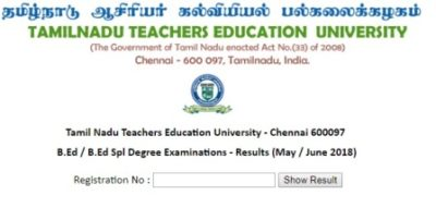 Tamil Nadu Teachers Education University Result