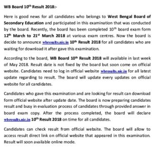 WBBSE Madhyamik 10th Result date
