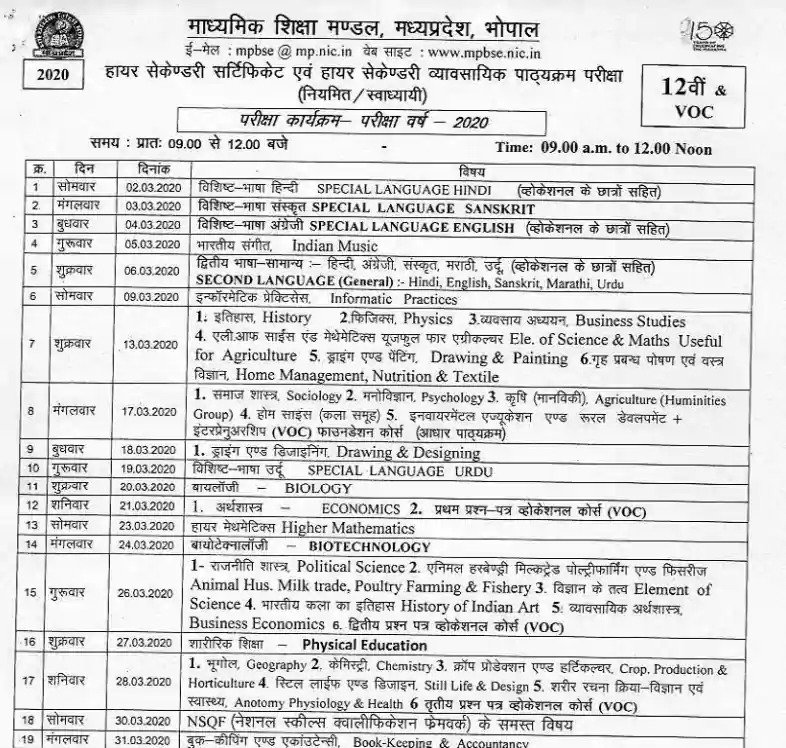 Mp Board Exam Time Table 2021 ड उनल ड कर Mp 10th 12th Class Schedule Download At Mpbse Nic In Golden Era Education