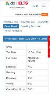 IDP IELTS Result mark score