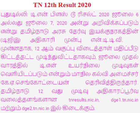 TN 12th Results