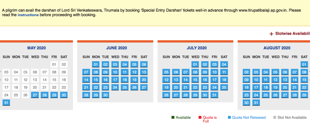 ttd Darshan availability chart