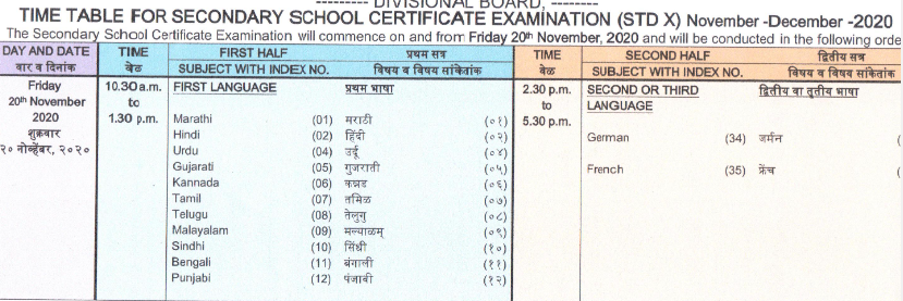 MAHA SSC SUPPLY TIME TABLE 1